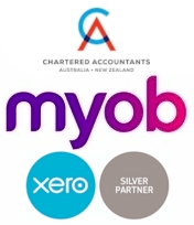 Images of CA MYOB Xero Silver Partner logos stacked on top of each others